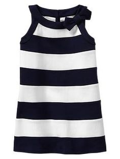 Bow striped dress- green mirage/ navy and white- sleeveless shirt- Gap kids- baby girl