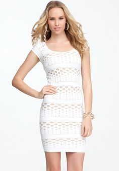 Dotted Mesh Bodycon Dress - Lyst