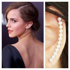 Ear Cuff, Crystal Ear Cuff. Ear Crawler. Ear Climber.Crystal Earrings. Silver Ear Cuff, Left Side Ear Cuff Clip earring. for Women.