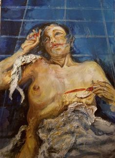 """Lo sguardo addosso"", mista su tela, cm 100 x 70"