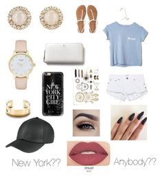 """""""New York"""" by emmaraej on Polyvore featuring Kate Spade, Casetify, One Teaspoon, Aéropostale, Smashbox and Tiffany & Co."""