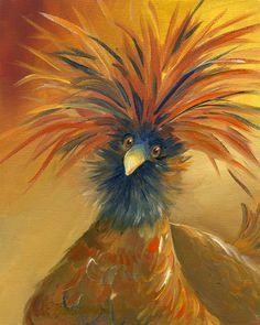 Polish Chicken Oil painting by Amy Hautman Chicken Painting, Chicken Art, Polish Chicken, Rooster Painting, Rooster Art, Art And Illustration, Illustrations, Gravure Photo, Chicken Pictures