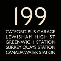 London Bus Blind Bus Route 199