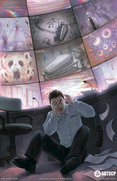 SCP: breach Mais um dia normal no trabalho Arte Horror, Horror Art, Creepy Horror, Scp Cb, Lovecraftian Horror, Arte Obscura, Creepy Art, Monster Art, Dark Fantasy Art