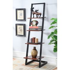 4 Tier Ladder Bookshelf in Black/Cherry Finish - Convenience Concepts 4 Tier Ladder by Convenience Concepts is a great addition to any home, office, or even dorm. Featuring four fixed open shelves that allow you to display knick knack Metal Bookshelf, Decor, Leaning Wall Shelf, Bookcase, Furniture, Ladder Bookshelf, Home Furniture, Ladder Bookcase, Home Decor