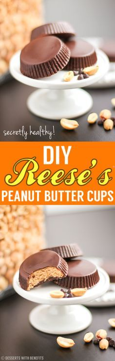 80-CALORIE Healthy DIY Reese's Peanut Butter Cups! Seriously. Super easy with 4 ingredients, and they're secretly sugar free, low carb, low fat, high protein, high fiber and gluten free! Go ahead and grab another one, they're totally guilt free.  What's better than 1 peanut butter cup? 2 peanut butter cups! ;D