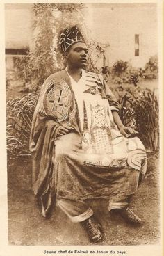 Vintage postcard, circa 1930. A Cameroun chief in a Nigerian robe. I will be updating the selection of antique Nigerian robes at adireafricantextiles.com next week.