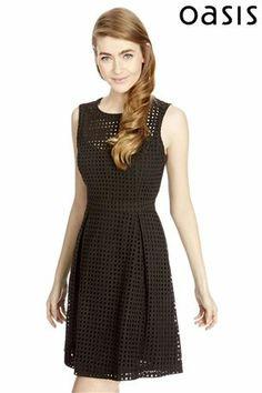 Black lace skater dress uk online