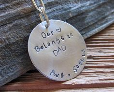 Our Heart Belongs to Dad Personalized Keychain Hand Stamped by TNine Design, $18.00