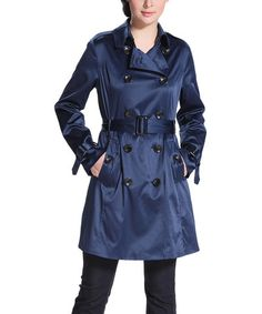 This Navy Emma Sateen Trench Coat by BGSD is perfect! #zulilyfinds