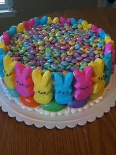 Don't judge me too harshly!  This cake didn't involve much skill...I threw it together to take to the family Easter dinner where tons of kids will be.  Not technically beautiful...but still a lot of fun!