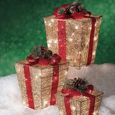 Gift Box Christmas Decorations 3Piece Glamorous Gold And Amp Bright Red Bow Gift Box Assortment