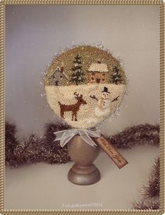 Olde-Snow-Globe-Primitive-Punch-Needle-Original-Snowman-Reindeer-Winter-Scene Christmas Stocking Pattern, Christmas Stockings, Reindeer, Snowman, Paper Mache Boxes, Punch Needle Patterns, Cross Stitch Finishing, Floor Cloth, Penny Rugs