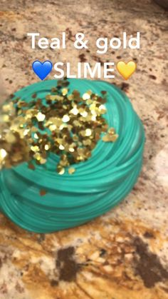 DIY Teal & Gold Slime Recipe