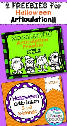 Free Halloween Articulation for Speech Therapy #speechtherapy  http://www.speechtherapyfun.com/