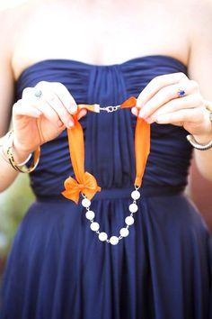 Orange navy blue wedding colour palette,Orange Bridesmaid Necklaces with Ribbon Necklaces - Wedding Necklaces