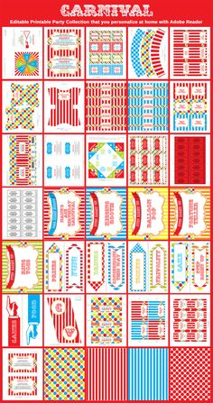 Printable Carnival Circus Party Templates