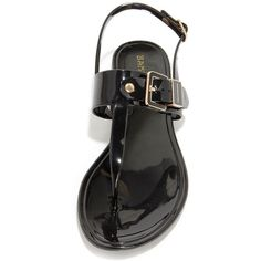 Jells of Your Black Jelly Thong Sandals ($15) ❤ liked on Polyvore