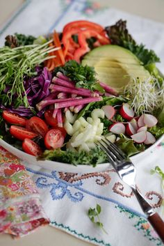 Radish, avocado, super salad
