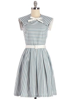 Hit the Sail Dress. While your friends set off on road trips this summer, you head for a river tour wearing the blue and ivory stripes of this cotton dress - a ModCloth exclusive from Myrtlewood.  #modcloth