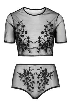 Embroidered Mesh Crop Top and Pant - #Lingerie - Clothing - Topshop USA