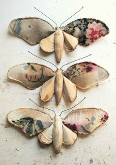 Textile flower moths (3) by Mister Finch