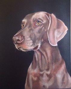 Weimaraner mixed media on canvas, dog art, dog portrait
