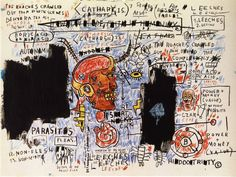 Broken art by Jean-Michel Basquiat. Jean-Michel Basquiat, the most famous and expensive black artist. Sgraffito, Jean Michel Basquiat Art, Jm Basquiat, Basquiat Tattoo, Andy Warhol, Basquiat Paintings, Guggenheim Bilbao, Art Brut, Outsider Art
