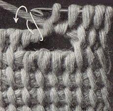 Тунисское вязание - петли для пуговиц