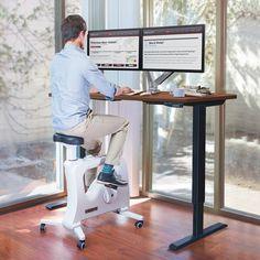 FlexiSpot Electric Height Adjustable Desk with Under Desk Bike Sit Stand Move Solution Home Office Layouts, Home Office Setup, Home Office Space, Home Office Desks, Ikea Office, Office Spaces, Design Typography, Design Logo, Eco Design