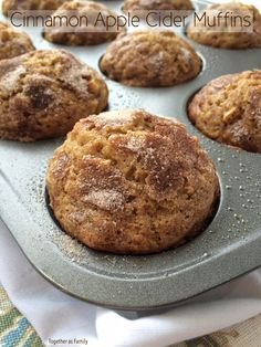 Food: Apple Recipes Soft cinnamon apple cider muffins loaded with chunks of apple, topped with a generous helping of cinnamon & sugar! you can find si. Zucchini Muffins, Muffins Blueberry, Apple Cinnamon Muffins, Almond Muffins, Apple Cider Muffin Recipe, Homemade Apple Cider, Apple Cider Donuts, Apple Cider Uses, Donut Recipes