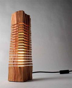 Idee fai da te per arredare con rami e tronchi - Lampada di legno