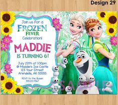 FROZEN FEVER Invitation Frozen Summer by KidsPartyPrintables