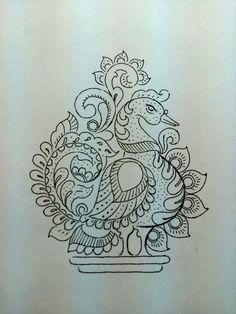 Peacock Mysore Painting, Kerala Mural Painting, Tanjore Painting, Indian Art Paintings, Saree Painting, Kalamkari Painting, Fabric Painting, Fabric Art, Peacock Embroidery Designs