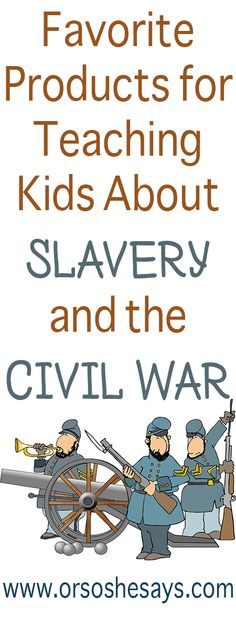 AWESOME Products for Teaching Kids About Civil War ~ plus lots of other educational posts! - Visit to grab an amazing super hero shirt now on sale! Us Slavery, Slavery History, Civil War Activities, 5th Grade Activities, Civil War Quotes, Civil War Books, Teaching History, Teaching Kids, Kids Learning