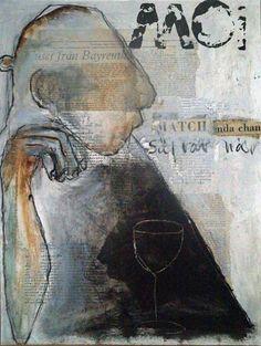 carola kastman: Oljeskisser med collage Newspaper Collage, Ap Studio Art, Great Works Of Art, Mixed Media Collage, White Art, Art Studios, Figurative Art, Abstract Art, Abstract Paintings