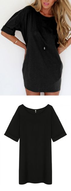 Black Half Sleeve Tee Dress-top