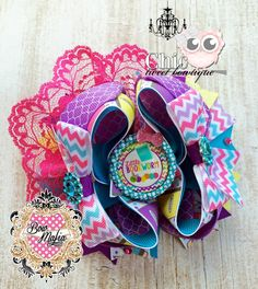 "Chic Tweet Bowtique  Pretty Bookworm OTT Bow (approx. 5"") Bow is stacked onto pinwheel bow. Please specify choice of clip when purchasing (Alligator or French Barrette)   Starting Bid: $5.00 Bid Increments: $1.00  BIN: $10.00  Shipping: $3.00 (will combine shipping for additional $.50 per item purchased from CTB)  www.facebook.com/chictweetbowtique Bid Here: https://www.facebook.com/BOWMAFIAGIRLS/photos/a.734450866617720.1073741943.477604452302364/734697333259740/?type=3&theater"