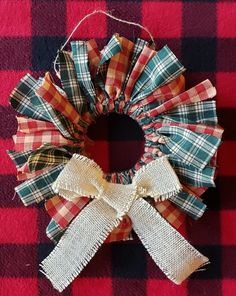 Primitive or Homespun Christmas Wreath, Red and Green Alternating Plaid with Cream Burlap Bow, Small Rustic Christmas Wreath, 8 inch Wreath Primitive Christmas Crafts, Christmas Fabric Crafts, Christmas Craft Fair, Christmas Items, Xmas Crafts, Rustic Christmas, Christmas Wreaths, Christmas Ornaments, Western Christmas Decorations