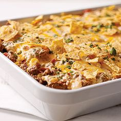 Tex-Mex Beef & Rice Casserole — Here's a ground beef and rice casserole recipe with all the Tex-Mex flavor they enjoy—onions and peppers, tortilla chips, cilantro, and a blend of creamy cheeses. Kraft Foods, Kraft Recipes, Mexican Food Recipes, Beef Recipes, Dinner Recipes, Cooking Recipes, What's Cooking, Cooking Cream, Beef Casserole