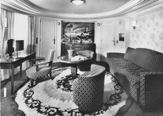 The First Class Normandie Apartment of the Liberté (Liberte), flagship of Compagnie Générale Transatlantique, more commonly known as The French Line. 1950.
