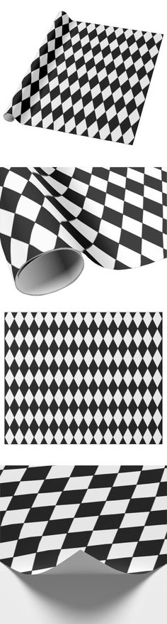 Black White Harlequin Pattern Wrapping Paper.  Perfect for decorating our Festive Harlequin Fête Halloween Party Decorating & Ideas