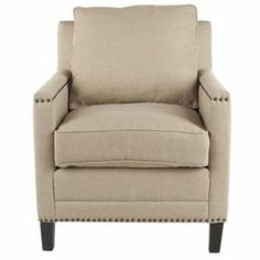 "Cotton arm chair with a birch wood frame and nailhead trim.  Product: Chair    Construction Material: Birch wood and cotton     Color: Straw and espresso   Features: Nailhead detailDimensions: 38.2"" H x 28.5"" W x 31.9"" D"