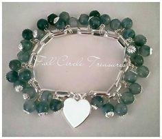 "Handmade semi precious jade bracelet, green, elegant, classy, for her, one of a kind, 7 1/2"" Semi precious jade & sterling silver bracelet by FullCircleTreasures on Etsy"