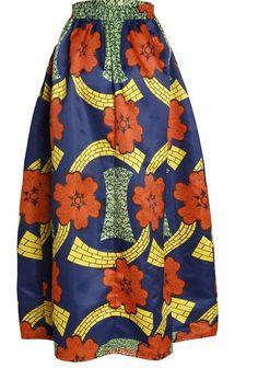 1ebaec22a2e Bohemian Big Swing African Print Elastic Waist Maxi Floor Length Skirt