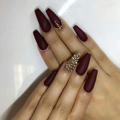 Long burgundy coffin nails