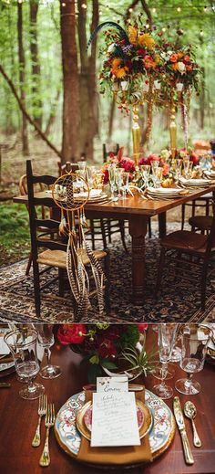gorgeous bohemian forest winter wedding table settings