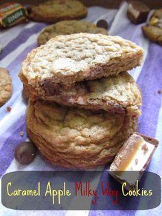 Caramel Apple Milky Way Cookies. Chocolate Chip Cookies with caramel apple milky ways mixed in!