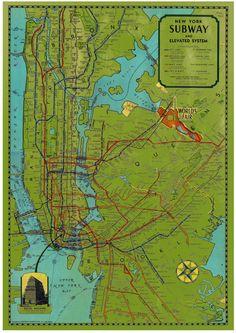 LARGE VINTAGE  New York Subway Map by palmerluka on Etsy, $49.95