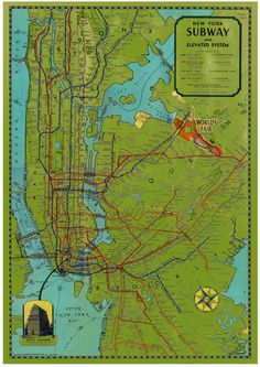 Vintage New York subway map